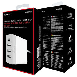 "Macally USB-C + 3x USB-A 72W wall charger (100-240AC) for MacBook 12"" w/USB-C cable, White"