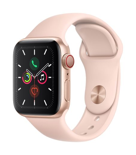 Apple Watch Series 5 GPS + Cellular, 40mm Gold Aluminium Case with Pink Sand Sport Band - S/M & M/L