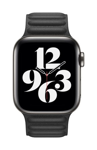 Apple Watch 40mm Black Leather Link - Large