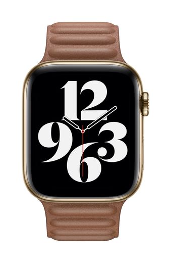 Apple Watch 44mm Saddle Brown Leather Link - Large
