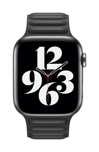 Apple Watch 44mm Black Leather Link - Large