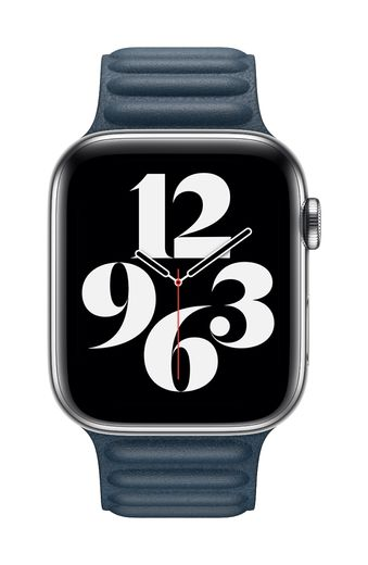 Apple Watch 44mm Baltic Blue Leather Link - Large