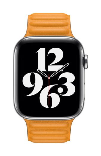 Apple Watch 44mm California Poppy Leather Link - Large