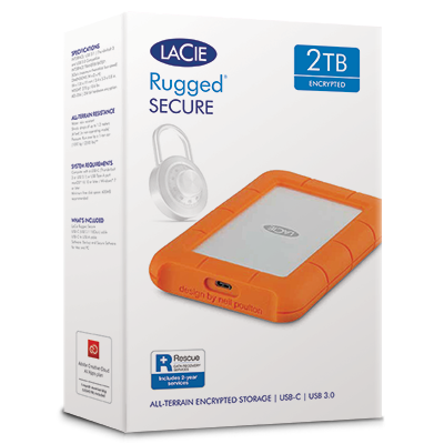 "LaCie Rugged Secure 2TB 2.5"" HDD USB-C/USB3.0 w/Rescue"